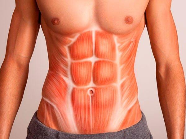 Diástasis de los rectos abdominales masculinos